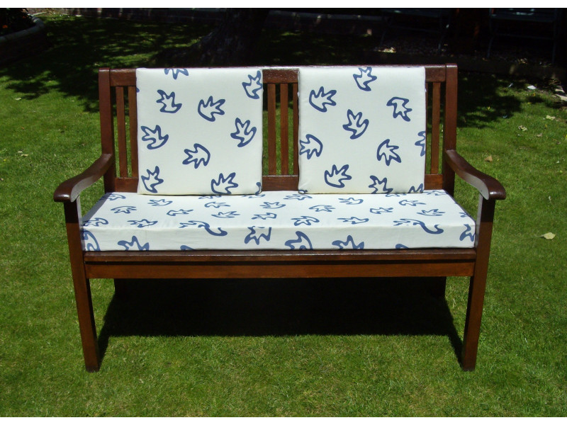 Garden Bench Cushion Set Including Back Pads - Cream with Blue Leaves