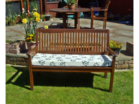 Garden Bench Cushion - Cream with Green Leaves