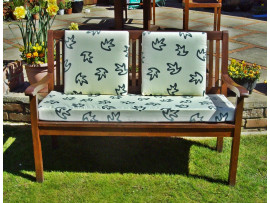 Garden Bench Cushion Set Including Back Pads - Cream with Green Leaves
