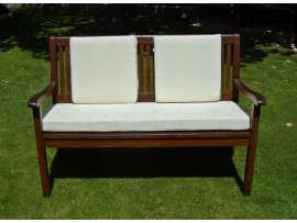 Garden Bench Cushion Set Including Back Pads - Cream Patterned