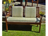 Garden Bench Cushion Set Including Back Pads - Cream Striped