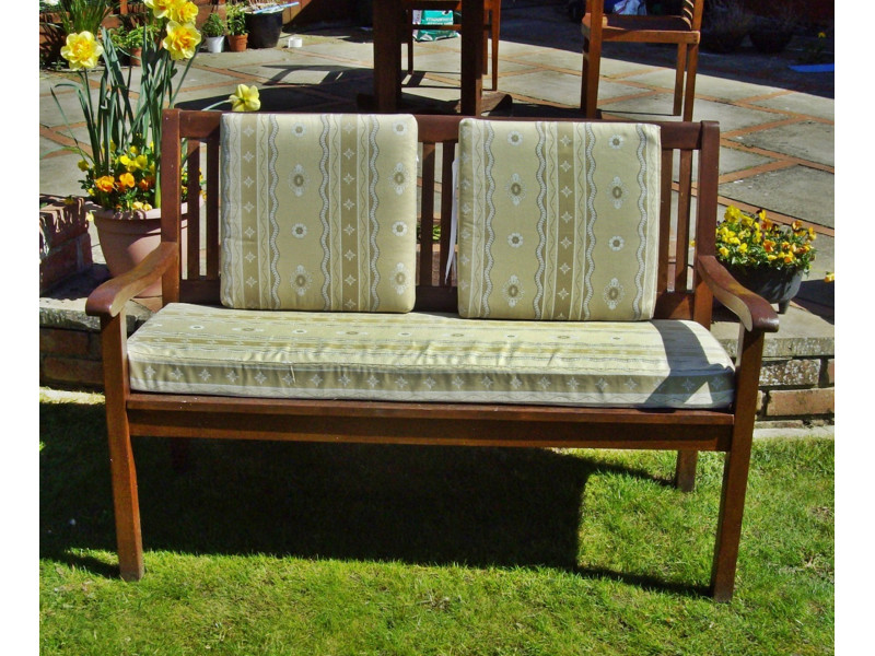 Garden Bench Cushion Set Including Back Pads - Cream Striped