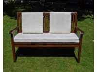 Garden Bench Cushion Set Including Back Pads - Cream Faux Suede