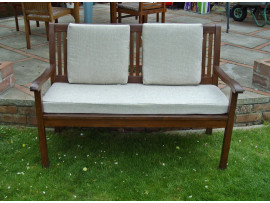 Garden Bench Cushion Set Including Back Pads - Cream Weave