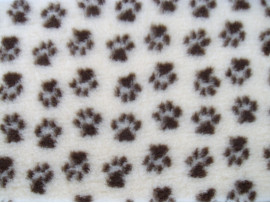 PnH Veterinary Bedding - NON SLIP - EXTRA LARGE RECTANGLE 150cm x 100cm - Cream With Brown Paws