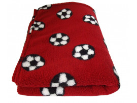 Deluxe Sherpa Fleece Lap Blanket - DOUBLE LAYERED - Red Football