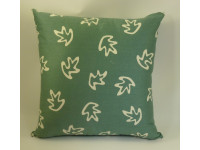 Green & Cream Leaves Design Cushion - Large 65cm x 65cm - COMPLETE WITH HOLLOW FIBRE FILLED INNER