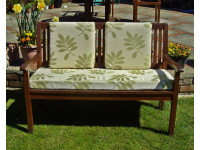 Garden Bench Cushion Set Including Back Pads - Green Leaf