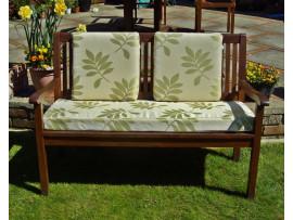 Garden Bench Cushion Set Including Back Pads - Green Leaf