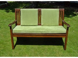 Garden Bench Cushion Set Including Back Pads - Apple Green Faux Suede