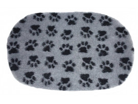 PnH Veterinary Bedding - NON SLIP - OVAL - Grey with Black Paws