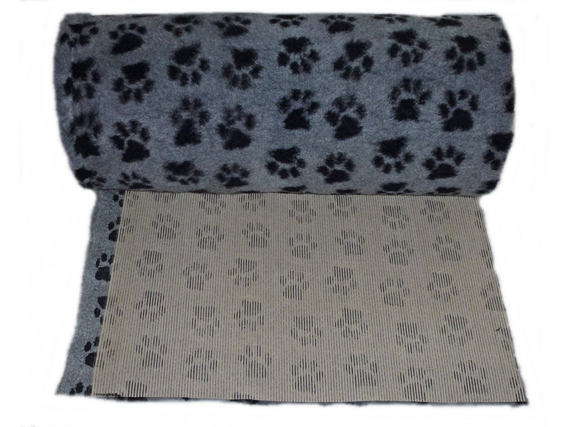 PnH Veterinary Bedding - NON SLIP - By The Roll - Grey with Black Paws