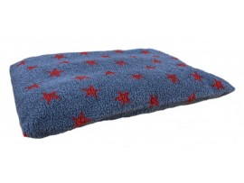 Grey with Red Stars - Sherpa Fleece Dog Bed Cushion