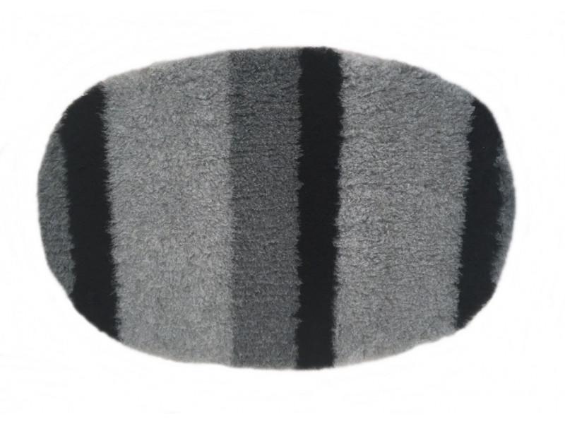 PnH Veterinary Bedding - NON SLIP - Oval - Grey & Black Stripes