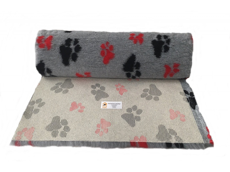 PnH Veterinary Bedding - NON SLIP - By The Roll - Grey with Red & Black Paws