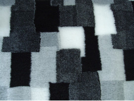 PnH Veterinary Bedding - NON SLIP - RECTANGLE - Grey, Black & White Patchwork