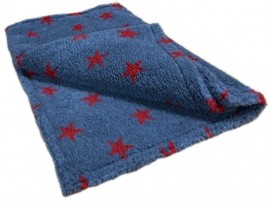 Deluxe Sherpa Fleece Lap Blanket - DOUBLE LAYERED - Grey with Red Stars