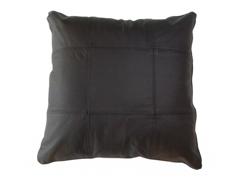 Real Leather Scatter Cushion - Large 53cm x 53cm - Black - COMPLETE WITH HOLLOW FIBRE FILLED INNER