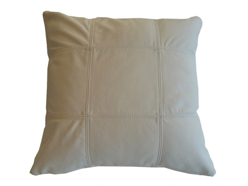 Real Leather Scatter Cushion - Large 53cm x 53cm - Cream - COMPLETE WITH HOLLOW FIBRE FILLED INNER
