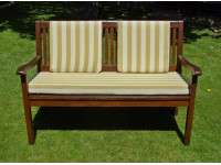Garden Bench Cushion Set Including Back Pads - Light Brown Stripe