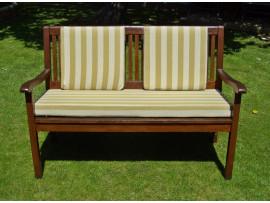 Garden Bench Cushion Set Including Back Pads - Light Brown Stripe