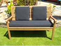 Garden Bench Cushion Set Including Back Pads - Black Faux Suede