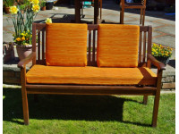 Garden Bench Cushion Set Including Back Pads - Orange Striped