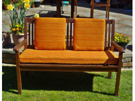 Garden Bench Cushion Set Including Back Pads - Orange Striped