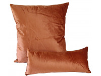 Orange Velour - Cushion & Bolster Set