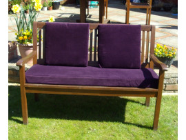 Garden Bench Cushion Set Including Back Pads - Purple Cord