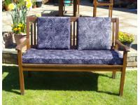 Garden Bench Cushion Set Including Back Pads - Purple Print