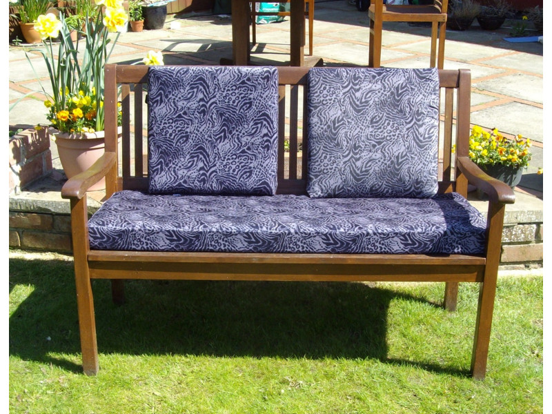 Garden Bench Cushion Set Including Back Pads - Purple Print