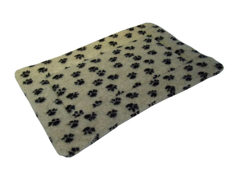 Sherpa Fleece Quilted Dog Pad - Cream Pawprints