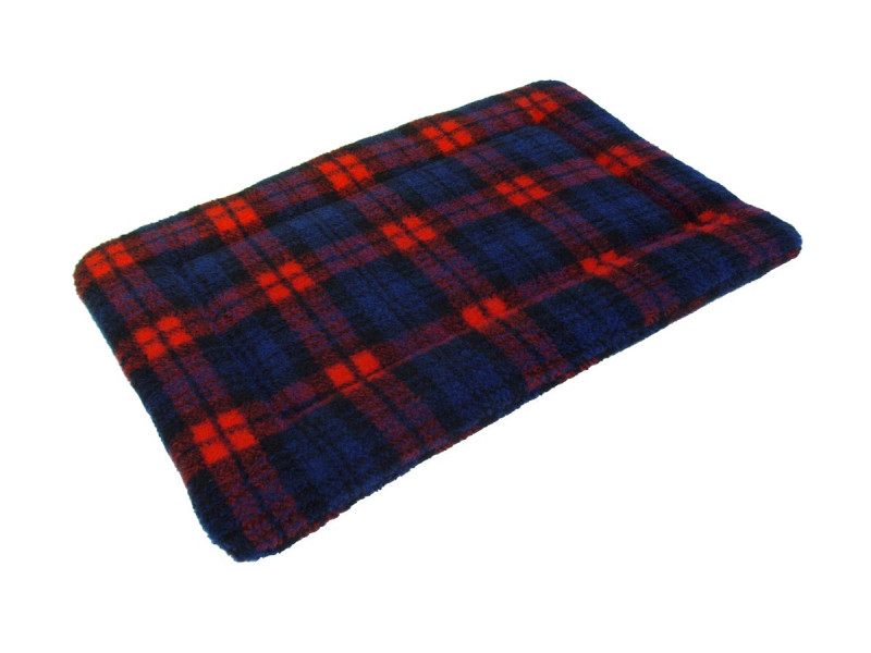Sherpa Fleece Quilted Dog Pad - Red Tartan