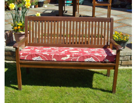 Garden Bench Cushion - Red Multi Leaf