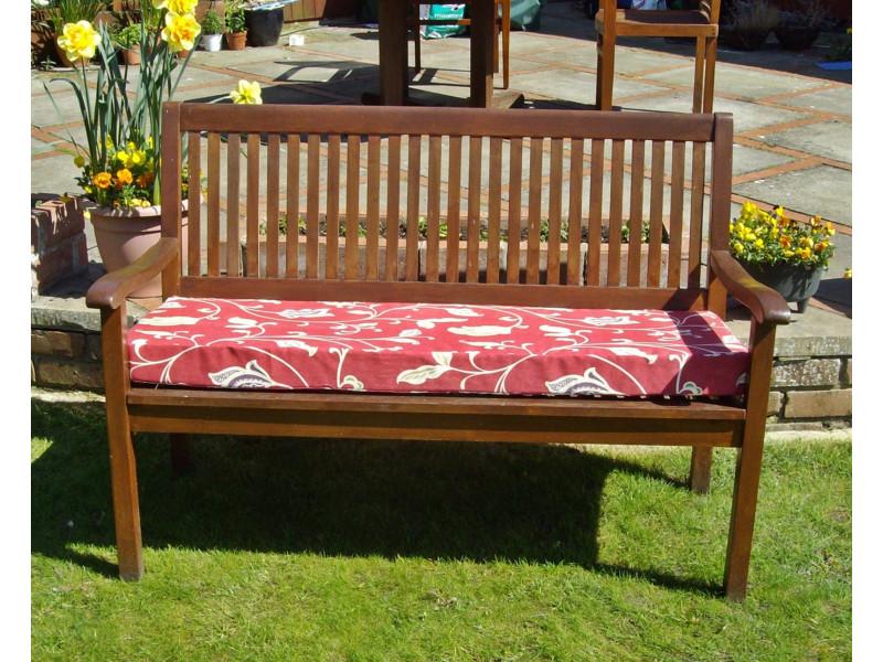 Garden Bench Cushion - Red Multi Leaf