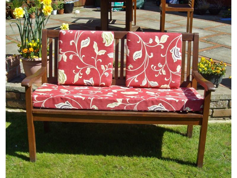 Garden Bench Cushion Set Including Back Pads - Red Multi Leaf