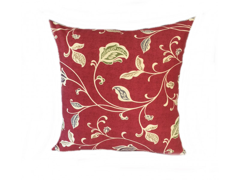 Red Multi Leaf Scatter Cushion - 45cm x 45cm - COMPLETE WITH HOLLOW FIBRE FILLED INNER