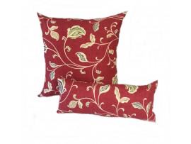 Red Multi Leaf  - Cushion & Bolster Set