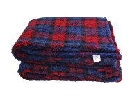 Red Tartan Sherpa Fleece Dog Blanket  DOUBLE LAYERS FOR EXTRA COMFORT
