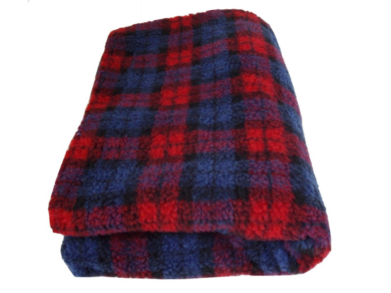 Deluxe Sherpa Fleece Lap Blanket - DOUBLE LAYERED - Red Tartan