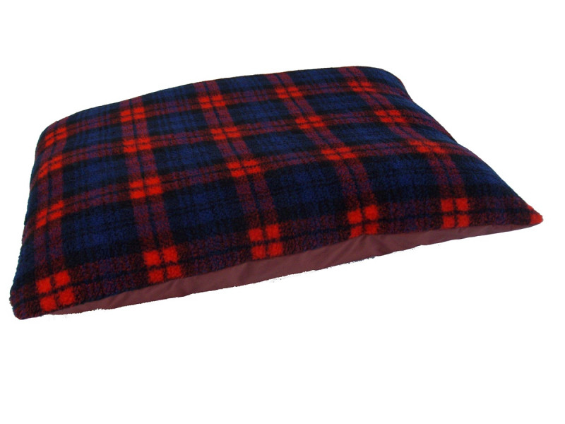 Fleece Dog Bed Cushion With Waterproof Base - Red Tartan