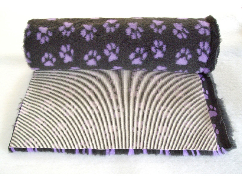 PnH Veterinary Bedding - NON SLIP - By The Roll - Charcoal With Lilac Paws
