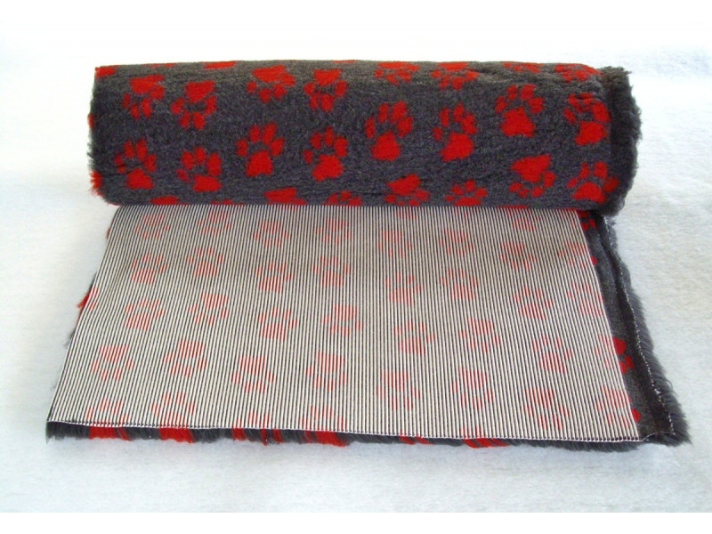 PnH Veterinary Bedding - NON SLIP - By The Roll - Charcoal With Red Paws