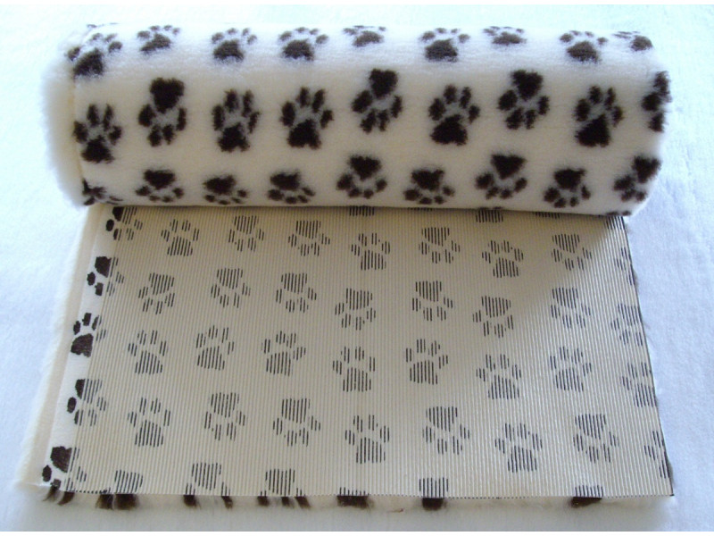 PnH Veterinary Bedding - NON SLIP - By The Roll - Cream with Brown Paws