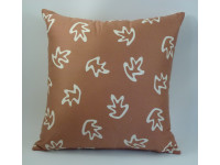 Rust & Cream Leaves Design Scatter Cushion - 42cm x 42cm - COMPLETE WITH HOLLOW FIBRE FILLED INNER