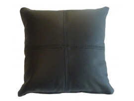 Real Leather Scatter Cushion - Small 37cm x 37cm - Black - COMPLETE WITH HOLLOW FIBRE FILLED INNER