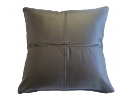 Real Leather Scatter Cushion - Small 37cm x 37cm - Brown - COMPLETE WITH HOLLOW FIBRE FILLED INNER