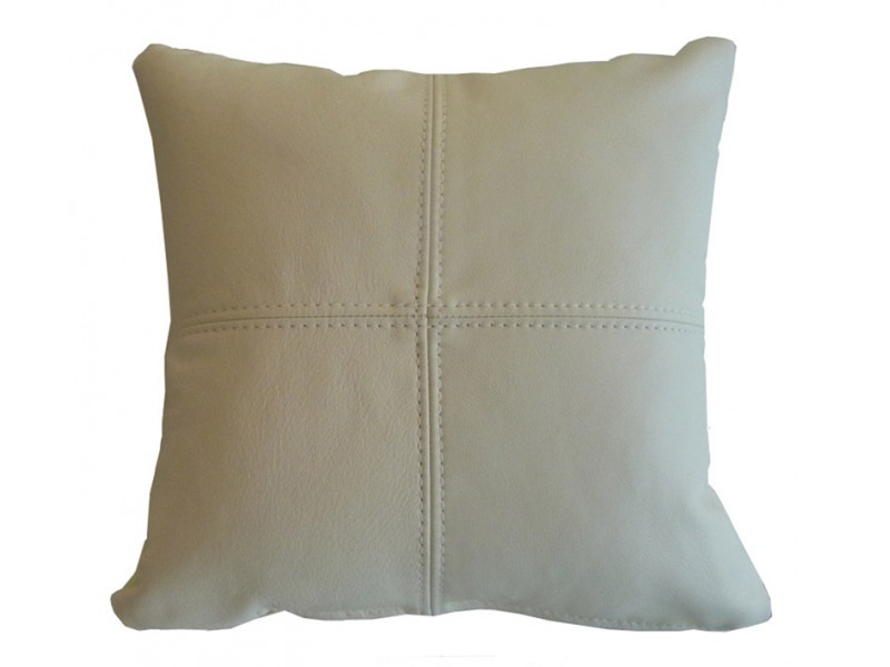 Real Leather Scatter Cushion - Small 37cm x 37cm - Cream - COMPLETE WITH HOLLOW FIBRE FILLED INNER