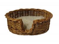 Rattan Dog Basket - Small (59cm) - With Cosy Sherpa Fleece Cushion